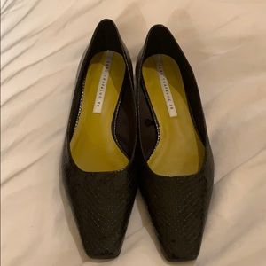 Black Zara Trafaluc moc croc flats